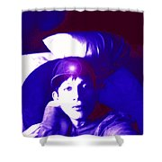 Moveonart Jacob In Blue Light Thinking Shower Curtain