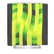 Moveonart Yellowlimegreenwave Shower Curtain
