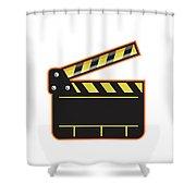 Movie Camera Slate Clapper Board Open Retro Shower Curtain