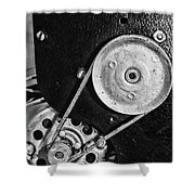 Movie Projector Gears In Black And White Shower Curtain