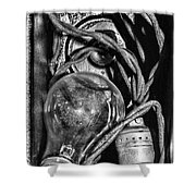 Movie Projector Light In Black And White Shower Curtain