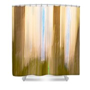 Moving Trees 15 Gold Brown Shower Curtain