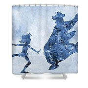 Mowgli And Baloo-blue Shower Curtain