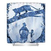 Mowgli, Baloo And Bagheera-blue Shower Curtain