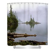 Mowich Lake In Fog  Shower Curtain