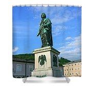 Mozart Statue In Mozartplatz, Salzburg, Austria Shower Curtain