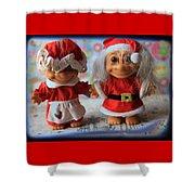 Mr And Mrs Santa Troll Shower Curtain