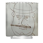 Mr Bloom - Red Shower Curtain