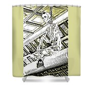 Mr Bones In Black And White With Sepia Tones Shower Curtain
