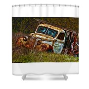 Mr Greenjeans Truck Ciose Up Shower Curtain