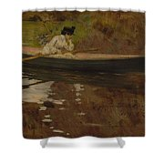 Mrs. Chase In Prospect Park , William Merritt Chase Shower Curtain