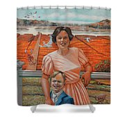 Mrs. Curry And Son Shower Curtain
