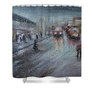 Christmas Rain Shopping Shower Curtain