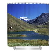 Mt Aconcagua And Laguna Horcones Shower Curtain