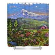 Mt Hood Fantasy Farm Shower Curtain