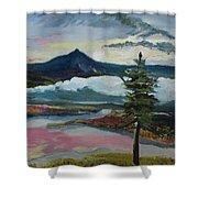 Mt Hood Winter Sunrise Shower Curtain