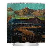Mt Hood With Paper Mill Shower Curtain