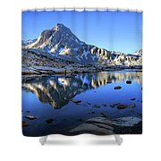 Mt Huxley Over Saphire Lake Morning - John Muir Trail Shower Curtain