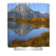 Mt. Moran Fall Reflection  Shower Curtain
