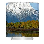 Mt Moran From Ox Bow Bend Shower Curtain