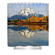 Mt Moran From Ox Bow Bend On A Fall Morning Shower Curtain