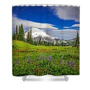Mt Rainier And Wildflowers Shower Curtain
