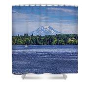 Mt Rainier Blues Shower Curtain