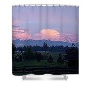 Mt Rainier Blush Shower Curtain