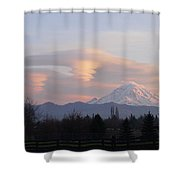 Mt Rainier Lenticular Funnels Shower Curtain