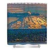 Mt Rainier Sunset Shower Curtain