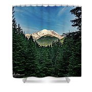 Mt Rainier Through The Trees Shower Curtain