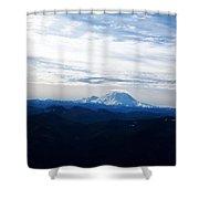 Mt Rainier Under Clouds Shower Curtain