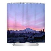 Mt Rainier Winter Sunrise-1 Shower Curtain