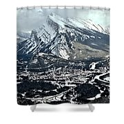Mt Rundle Aerial View Shower Curtain