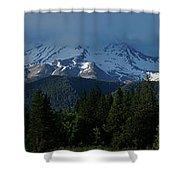 Mt Shasta Under Clouds - Panorama Shower Curtain