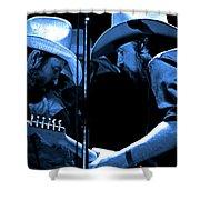 Mtb77#34 Enhanced In Blue Shower Curtain