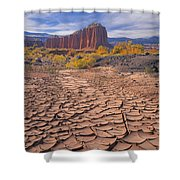 212648-mud Cracks Upper Cathedral Valley  Shower Curtain