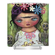 Muertos Fest Shower Curtain by Abril Andrade Griffith