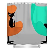 Mug Design With Egg Chairs Shower Curtain