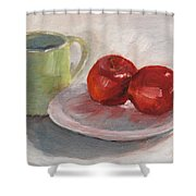Mugging For Apples Shower Curtain
