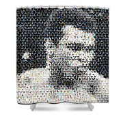 Muhammad Ali Butterfly Bee Mosaic Shower Curtain by Paul Van Scott
