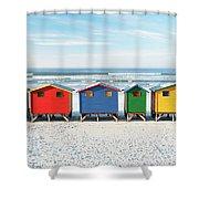 Muizenberg Beach Huts 2 Shower Curtain
