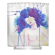 Mujer En Acuarela Shower Curtain