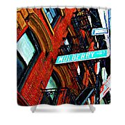 Mulberry Street Sketch Shower Curtain