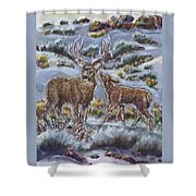 Mule Deer Lovers From River Mural Shower Curtain