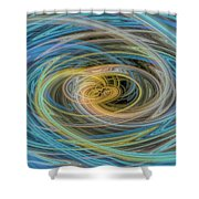 Multi Color Line Art Blue Yellow Gray Green Shower Curtain
