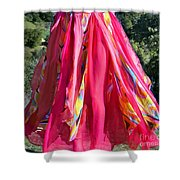 Multi-color Pink Skirt. Ameynra Design Shower Curtain