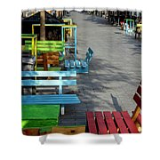 Multi-colored Benches On The Pedestrian Zone Shower Curtain