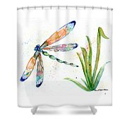 Multi-colored Dragonfly Shower Curtain