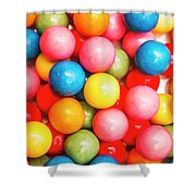Multi Colored Gumballs. Sweets Background Shower Curtain